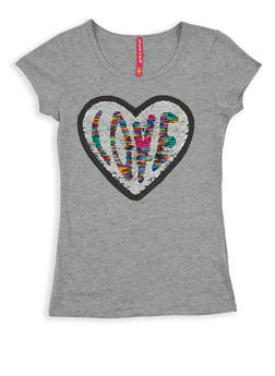 Girls 7-16 Reversible Sequin Love Graphic T Shirt - 1635066590562