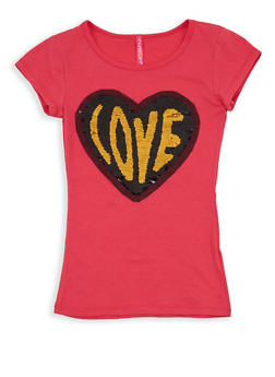 Girls 7-16 Reversible Heart Sequin T Shirt - 1635066590565