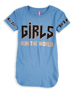 Girls 7-16 Girls Run the World Graphic Top - 1635066590572