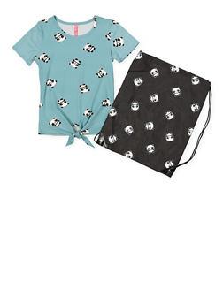 Girls 7-16 Panda Print Tee with Drawstring Backpack - 1635066590589