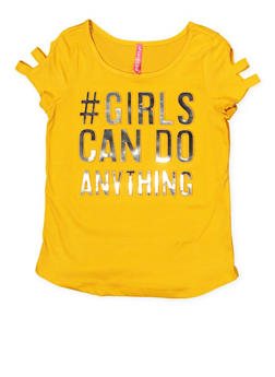 Girls 7-16 Caged 3D Foil Girls Can Do Anything Tee - 1635066590591