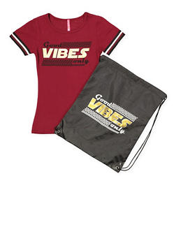 Girls 7-16 Good Vibes Only Tee with Drawstring Backpack - 1635066590596