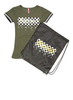 Girls 7-16 Blessed Graphic Tee with Drawstring Backpack - 1635066590597