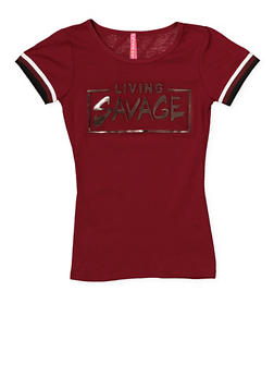 Girls 7-16 Living Savage 3D Foil Graphic Tee - 1635066590606