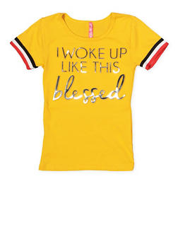 Girls 7-16 3D Blessed Foil Graphic Tee - 1635066590620