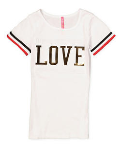 Girls 7-16 3D Foil Love Graphic Tee - 1635066590622