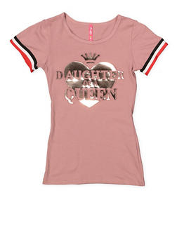 Girls 7-16 Daughter of a Queen 3D Foil Graphic Tee - 1635066590624