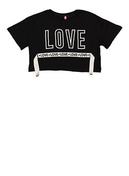 Girls 7-16 Love Tape Cropped Tee - 1635066590626