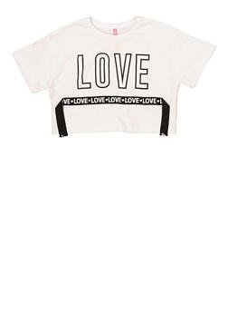 Girls 7-16 Love Tape Cropped Tee - 1635066590626