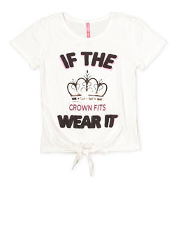 Girls 7-16 3D Foil Crown Graphic Tee - 1635066590627