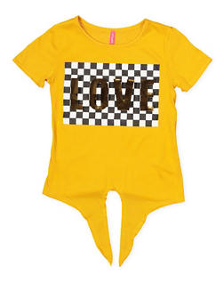Girls 7-16 3D Love Foil Graphic Tee - 1635066590631