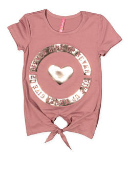 Girls 7-16 3D Never Give Up Foil Graphic Tee - 1635066590632