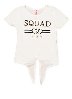Girls 7-16 Squad Goals 3D Tie Front Foil Graphic Tee - 1635066590634