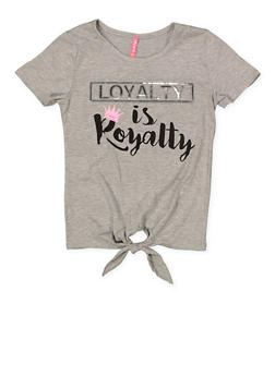 Girls 7-16 Loyalty is Royalty 3D Foil Graphic Tee - 1635066590635