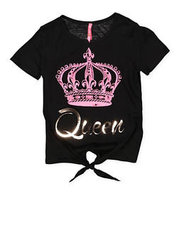 Girls 7-16 3D Foil Queen Graphic Tee - 1635066590637