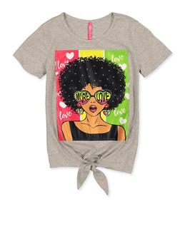 Girls 7-16 More Love Face Patch Tee - 1635066590657