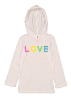 Girls 7-16 Hooded Love Tee - 1635066590665