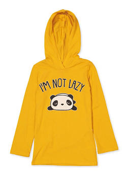 Girls 7-16 Im Not Lazy Panda Graphic Top - 1635066590667