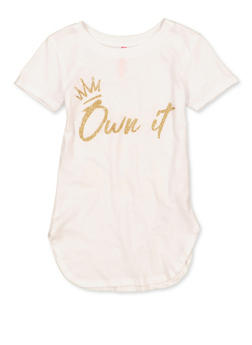 Girls 7-16 Own It Glitter Graphic Tee - 1635066590672