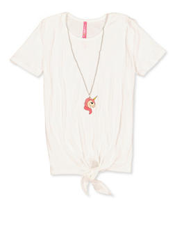 Girls 7-16 Tie Front Tee with Unicorn Necklace - 1635066590681