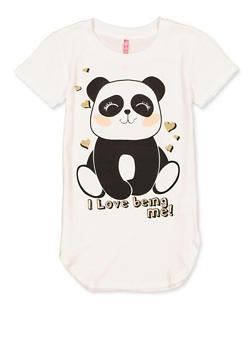 Girls 7-16 I Love Being Me Panda Tee - 1635066590687