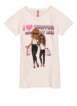 Girls 7-16 I Love Shopping With My Mom Tee - 1635066590699