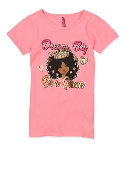 Girls 7-16 Dream Big Be A Queen Tee - 1635066590701