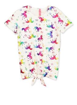 Girls 7-16 Unicorn Foil Print Tee - 1635066590715