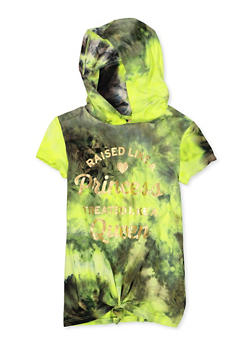 Girls 7-16 Graphic Tie Dye Hooded Top - 1635066590781