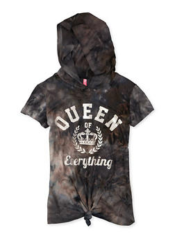 Girls 7-16 Hooded Queen of Everything Knot Front Graphic Tee - 1635066590783