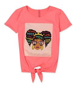 Girls Queen Graphic Patch Tie Front Top - 1635066590881