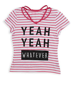 Girls 7-16 Glitter Graphic Striped T Shirt - MAGENTA/WHITE - 1635073990001