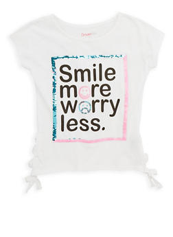 Girls 7-16 Smile More Sequin Graphic T Shirt - 1635073990010
