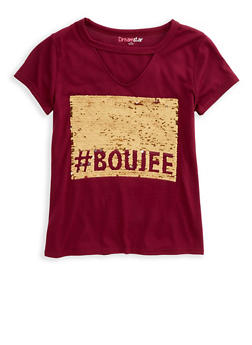 Girls 7-16 Boujee Graphic Reversible Sequin Top - 1635073990015