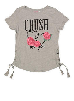 Girls 7-16 Glitter Graphic Lace Up Tee | 1635073990023 - 1635073990023