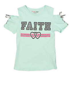 Girls 7-16 Lace Up Sleeve Graphic Tee - 1635073990024