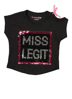 Girls 7-16 Reversible Sequin Cut Out Top - Black - Size 12 - 1635073990025