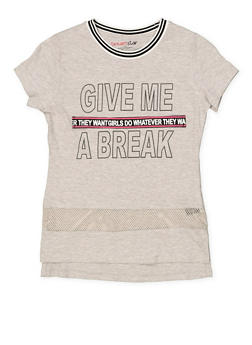 Girls 7-16 Graphic Tape Detail Tee - 1635073990029