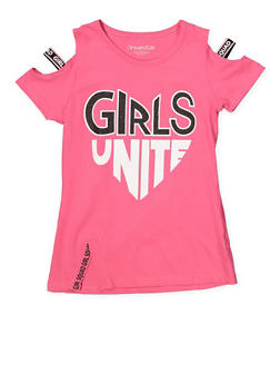 Girls 7-16 Cold Shoulder Graphic Tee - 1635073990030