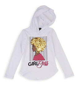 Girls 7-16 Girl Boss Reversible Sequin Hooded Top - 1635073990043