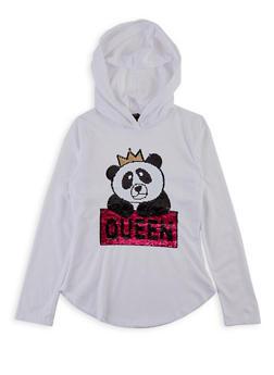 Girls 7-16 Panda Queen Reversible Sequin Top - 1635073990046