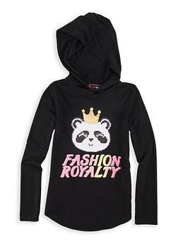 Girls 7-16 Reversible Sequin Panda Fashion Royalty Tee - 1635073990047