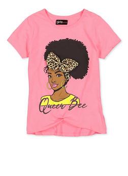 Girls 7-16 Queen Bee Leopard Bow Tee - 1635073990063