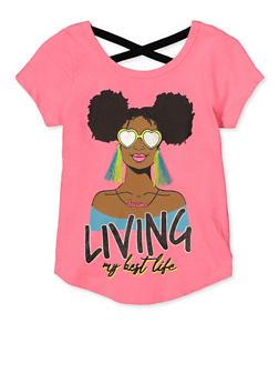 Girls 7-16 Pink Living My Best Life Top - 1635073990082