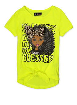 Girls 7-16 3D Leopard Bow Blessed Tee - 1635073990083