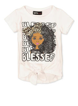 Girls 7-16 Blessed Graphic 3D Bow Tee - 1635073990084