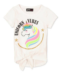 Girls 7-16 Unicorn Vibes 3D Bow Tee - 1635073990088