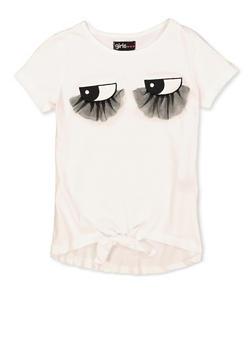 Girls 7-16 3D Mesh Eyelash Tee - 1635073990093