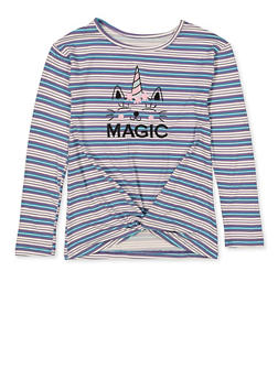 Girls 7-16 Magic Embroidered Striped Top - 1635075540001