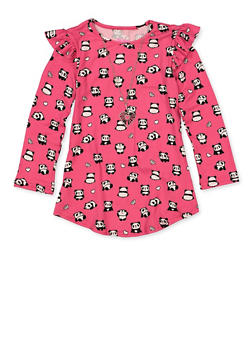 Girls 7-16 Panda Print Top with Necklace - 1635075540012